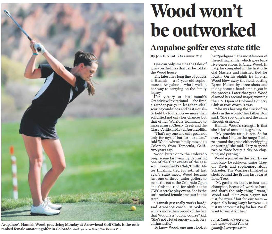 Arapahoe High School Shooting Denver Post: Arapahoe High School Lady Warriors Golf